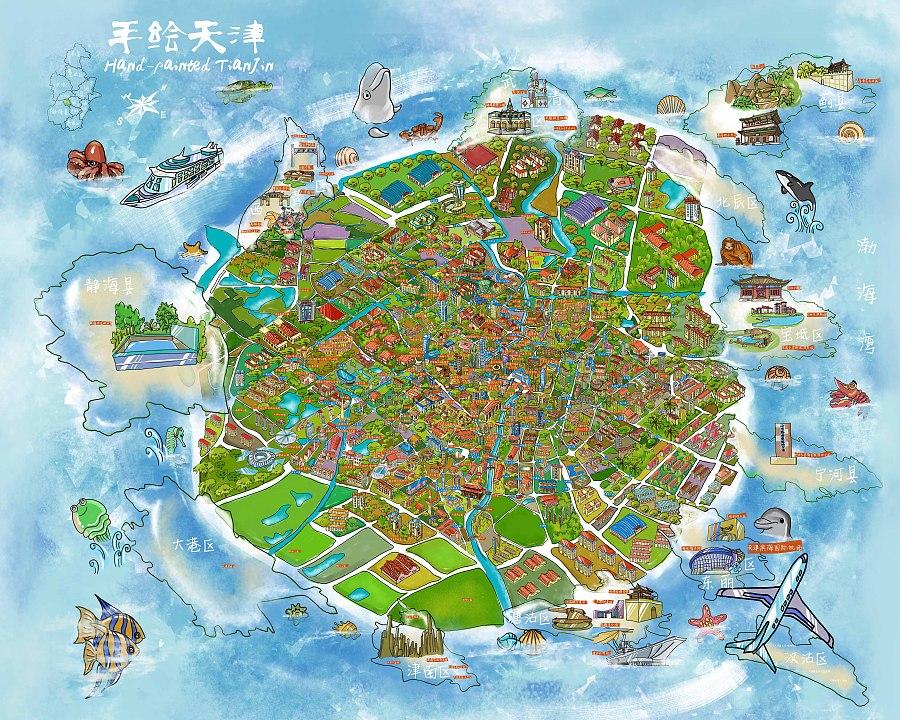 天津市手绘地图|其他绘画|插画|马骏驰0909