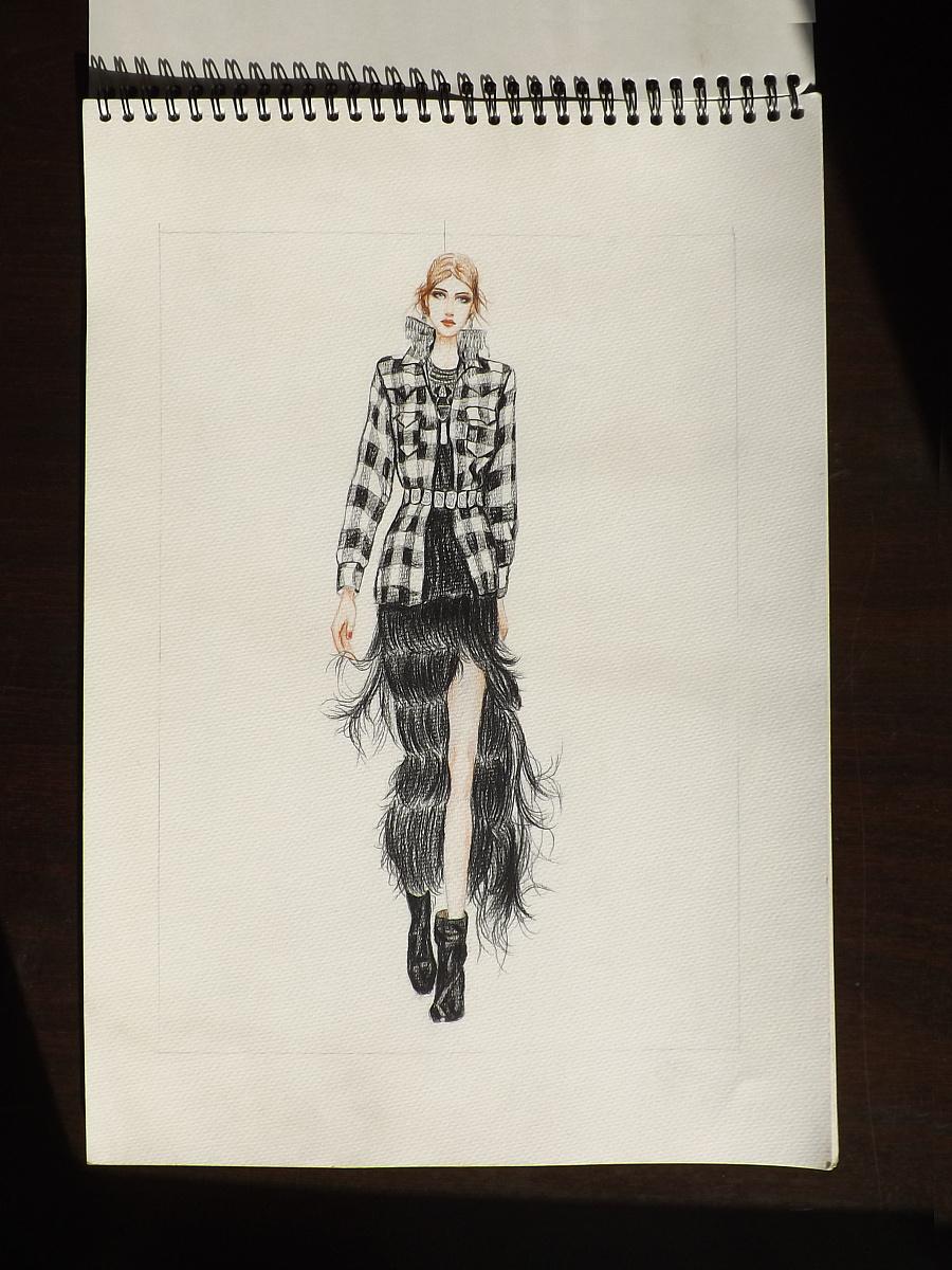 上半年服装设计临摹 彩铅