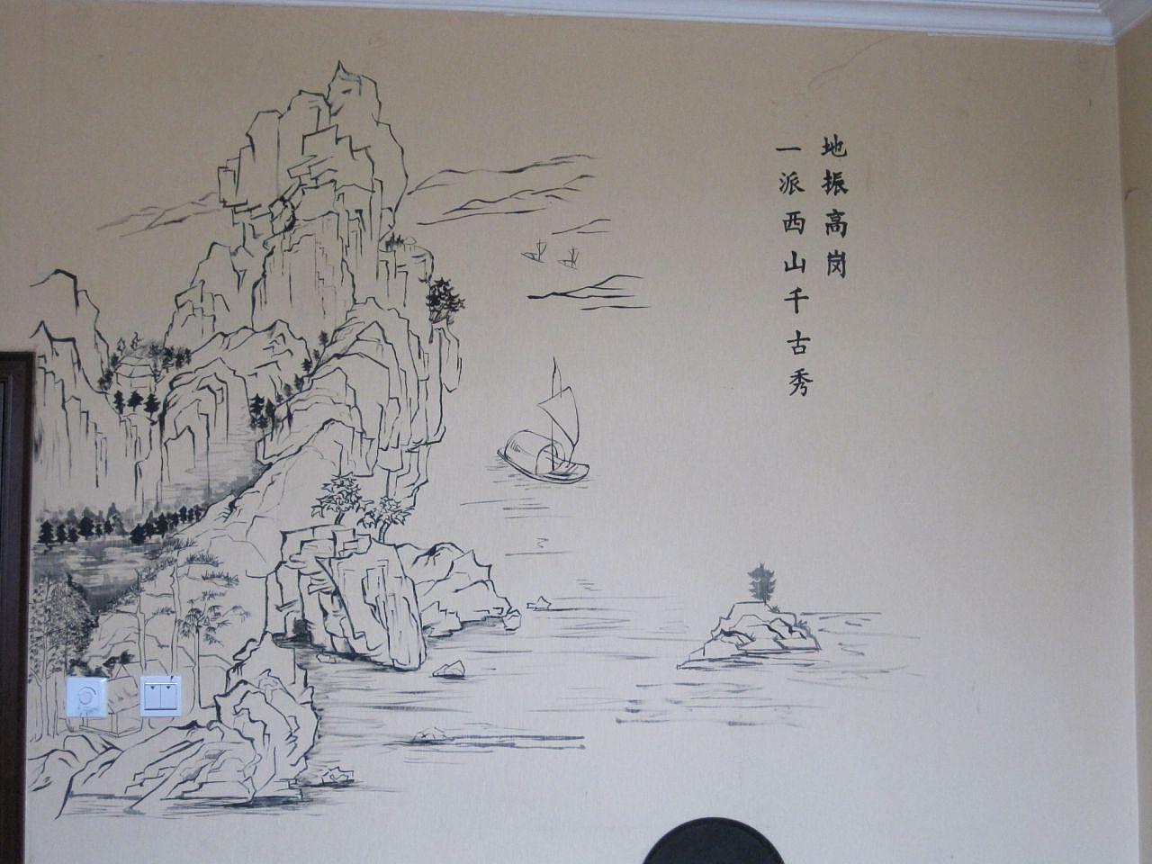 中式餐馆手绘背景墙