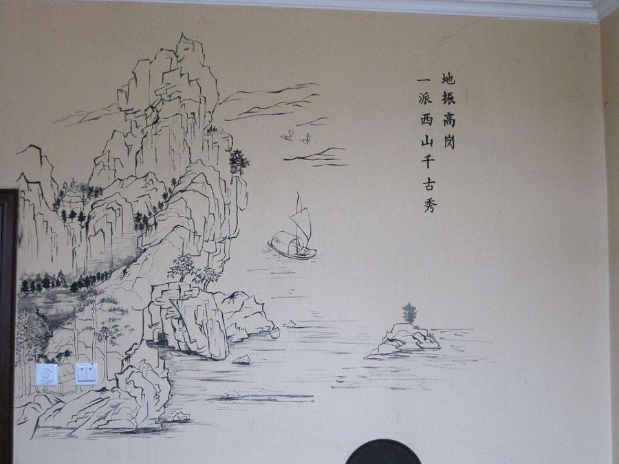 中式餐馆手绘背景墙|商业插画|插画|白头鹰 - 原创