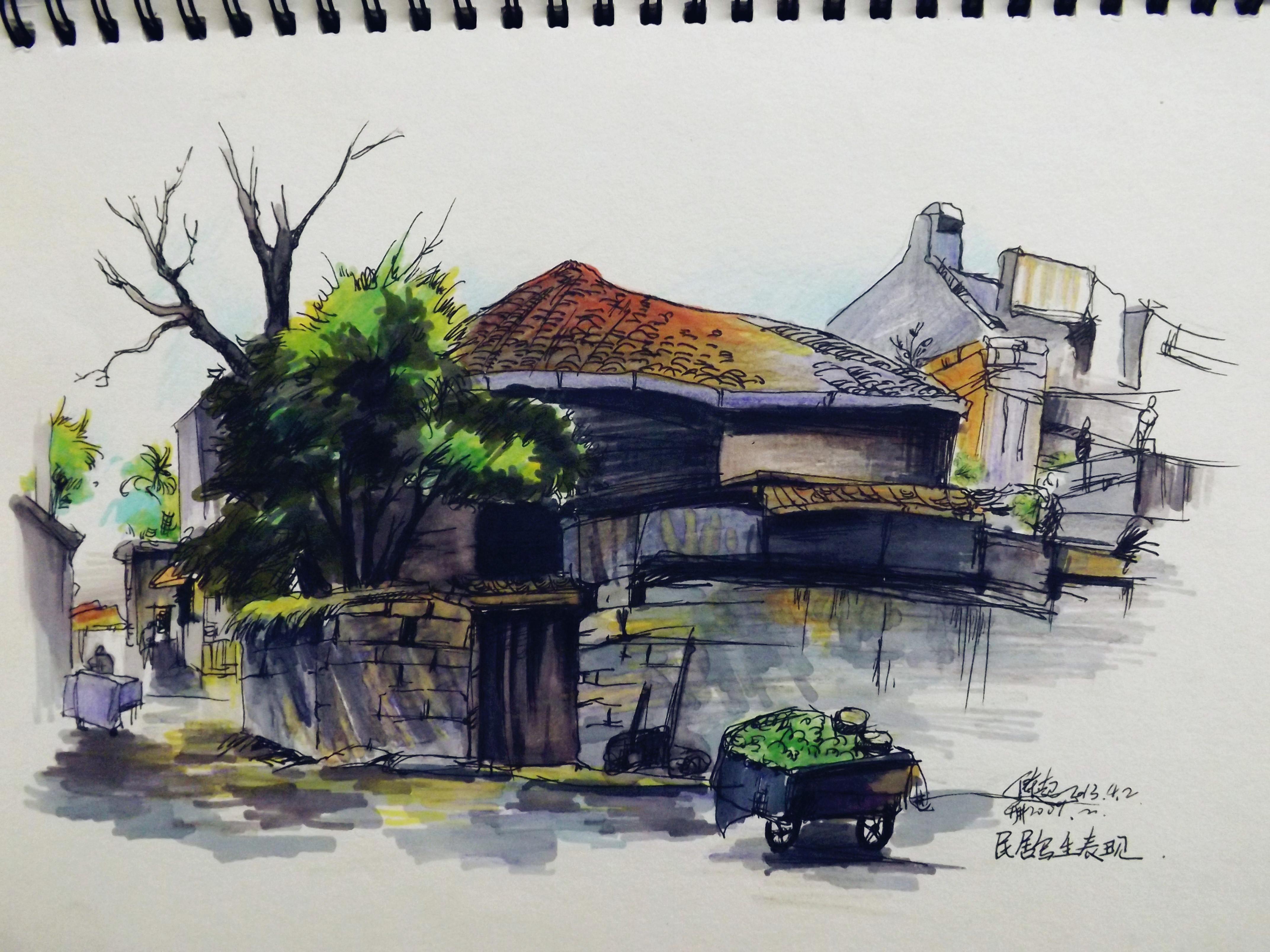 建筑手绘 纯艺术 速写 colorful彩铅时代 - 原创作品