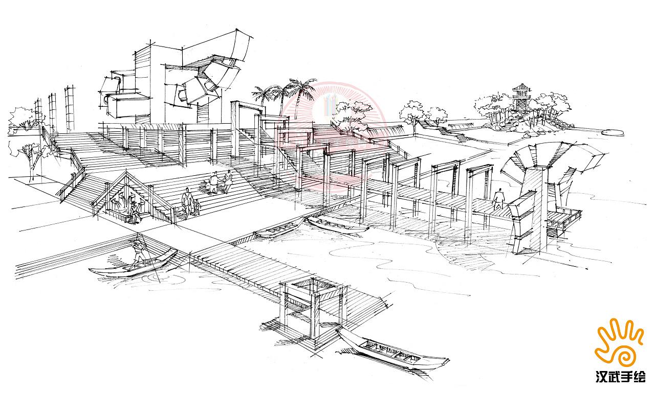 广场设计手绘线稿|空间|景观设计|汉武手绘 - 原创