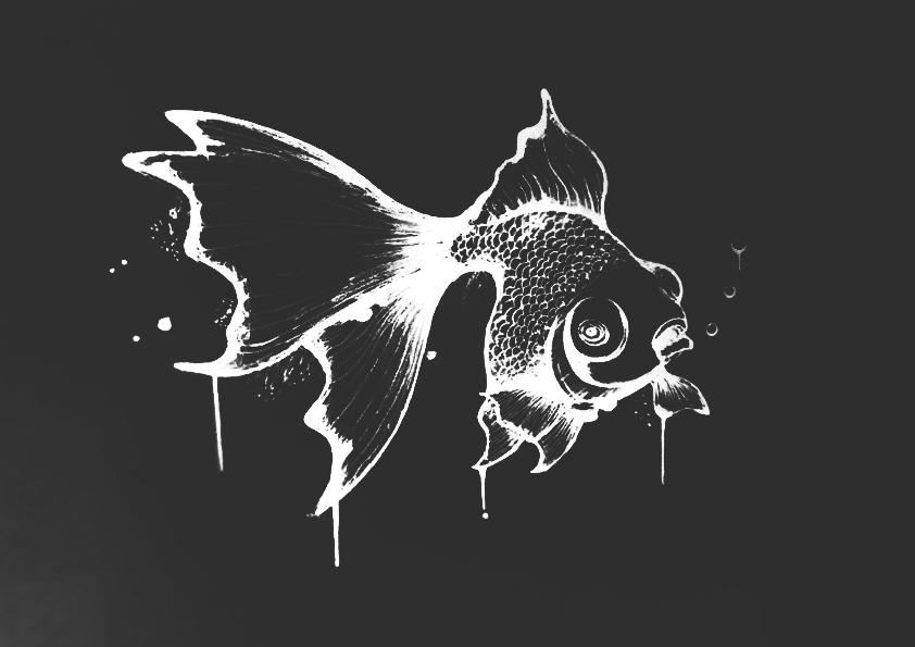 黑白手绘金鱼