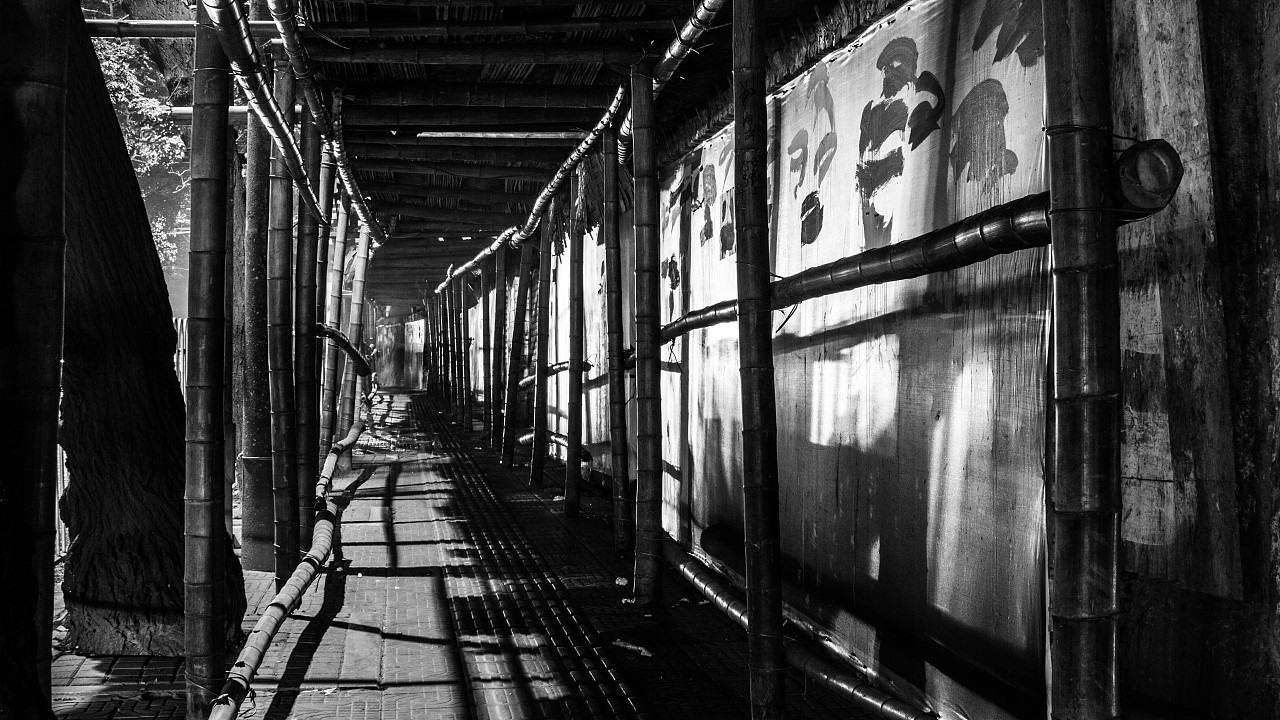 街道手绘图黑白