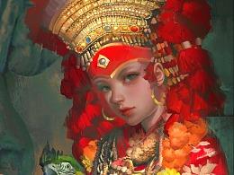 抱鹦鹉的库玛莉女神