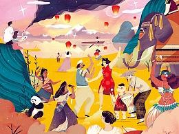 給美國麥當勞畫的新年日歷封面