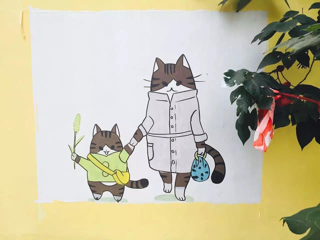 简单的卡通墙绘图片
