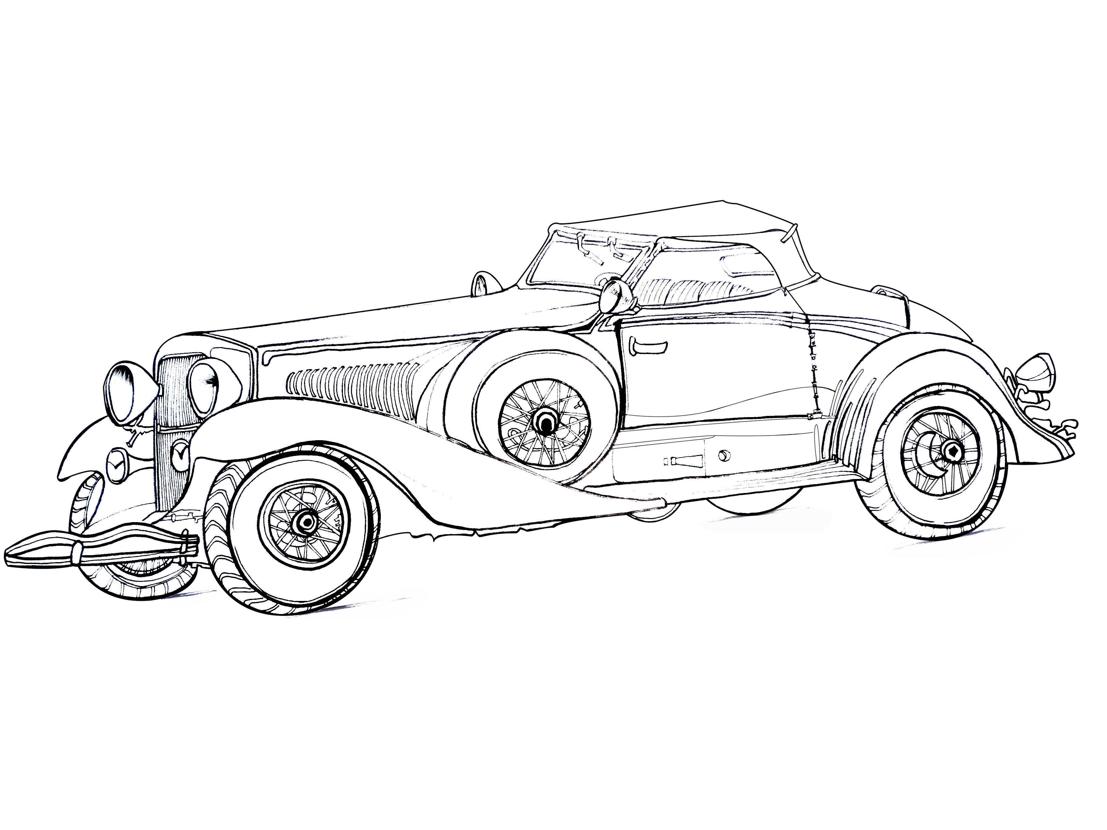 手绘线描复古汽车