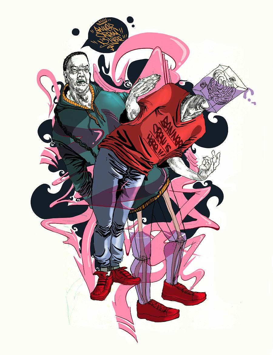 病态的hiphop |涂鸦/潮流|插画|jade_ - 原创设计作品