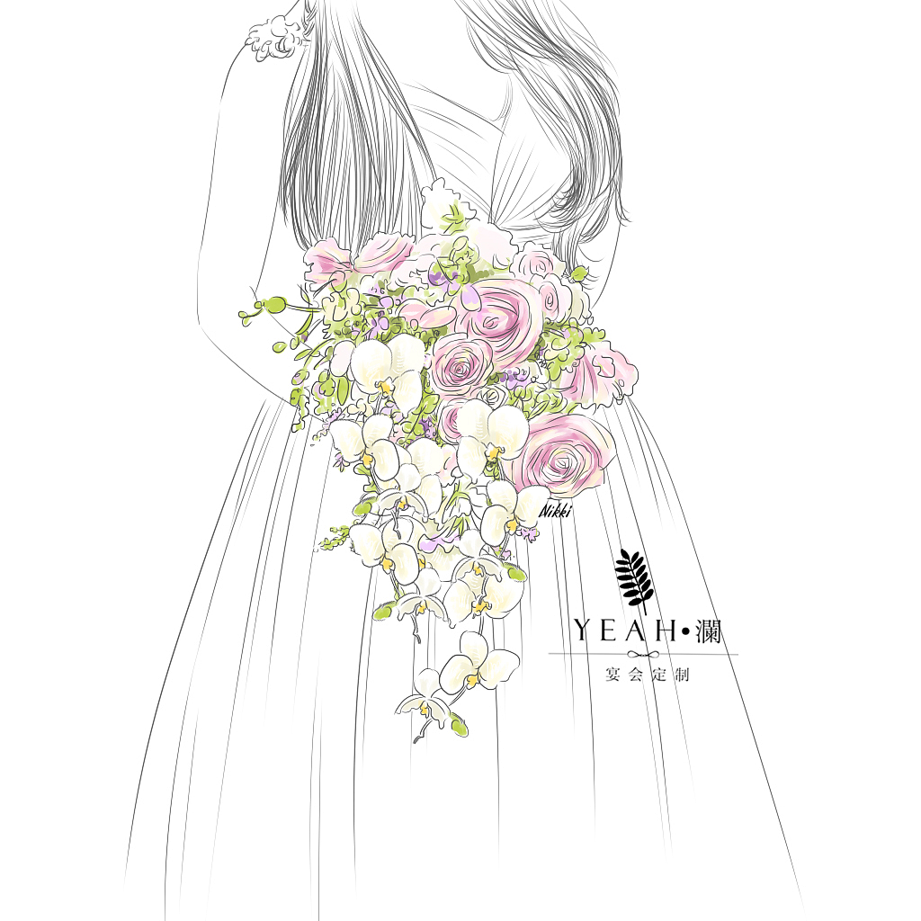 婚礼手绘手捧花