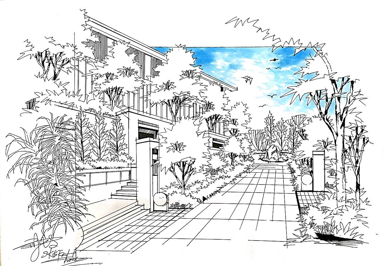 手绘 建筑手绘 景观规划手绘