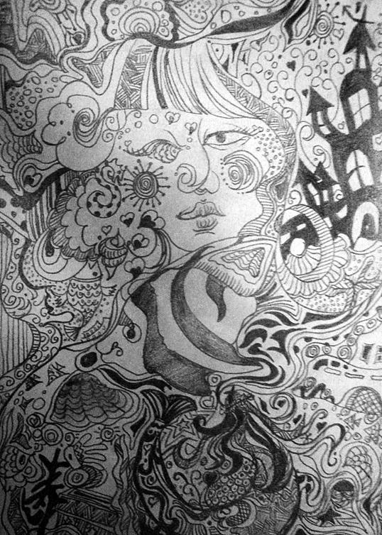 黑白装饰画-我的童话世界-有伤感