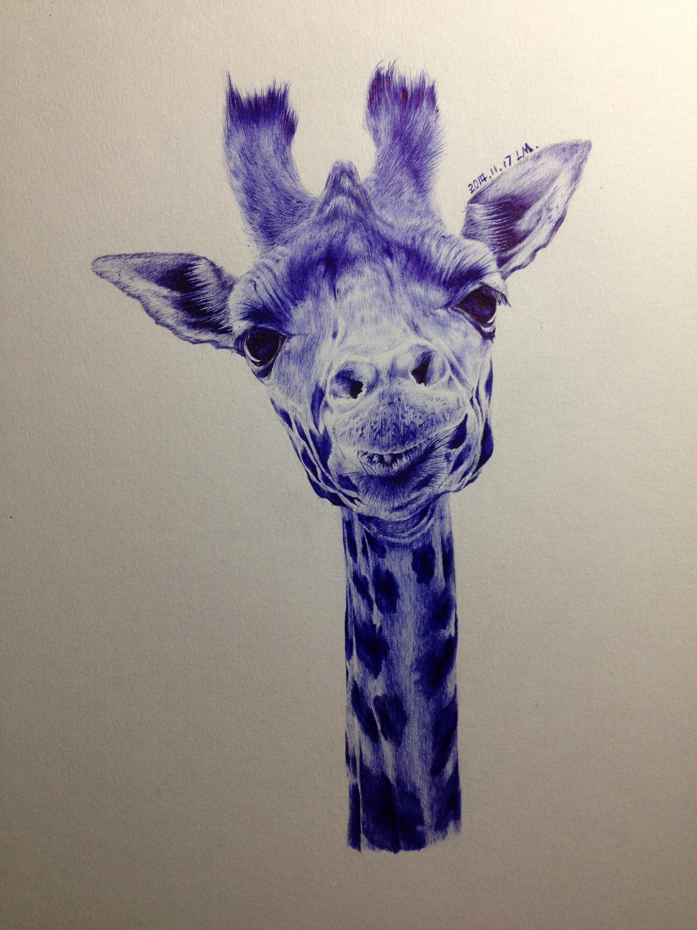 圆珠笔画——长颈鹿.