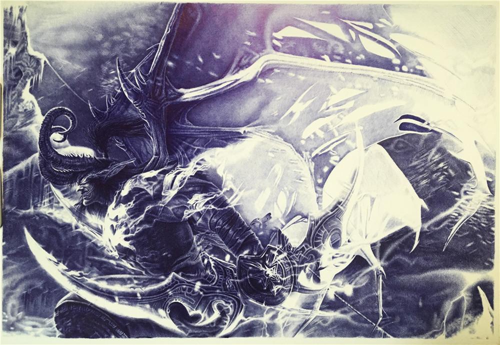 y_lovely圆珠笔手绘魔兽世界伊利丹(恶魔猎手)2