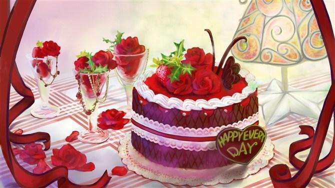 手绘的蛋糕