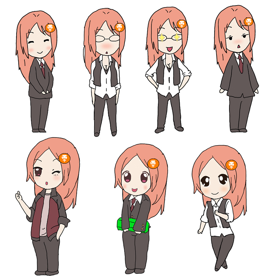 手绘卡通q版小女孩 单幅漫画 动漫 apricot