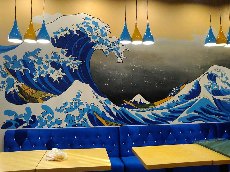 太原日本料理店手绘墙绘墙体彩绘.太原幼儿园文化墙.