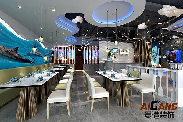 重庆酒楼饭店装修,海鲜餐厅螺纹绘制,餐厅装饰设计主题案例中如何sw装修图片
