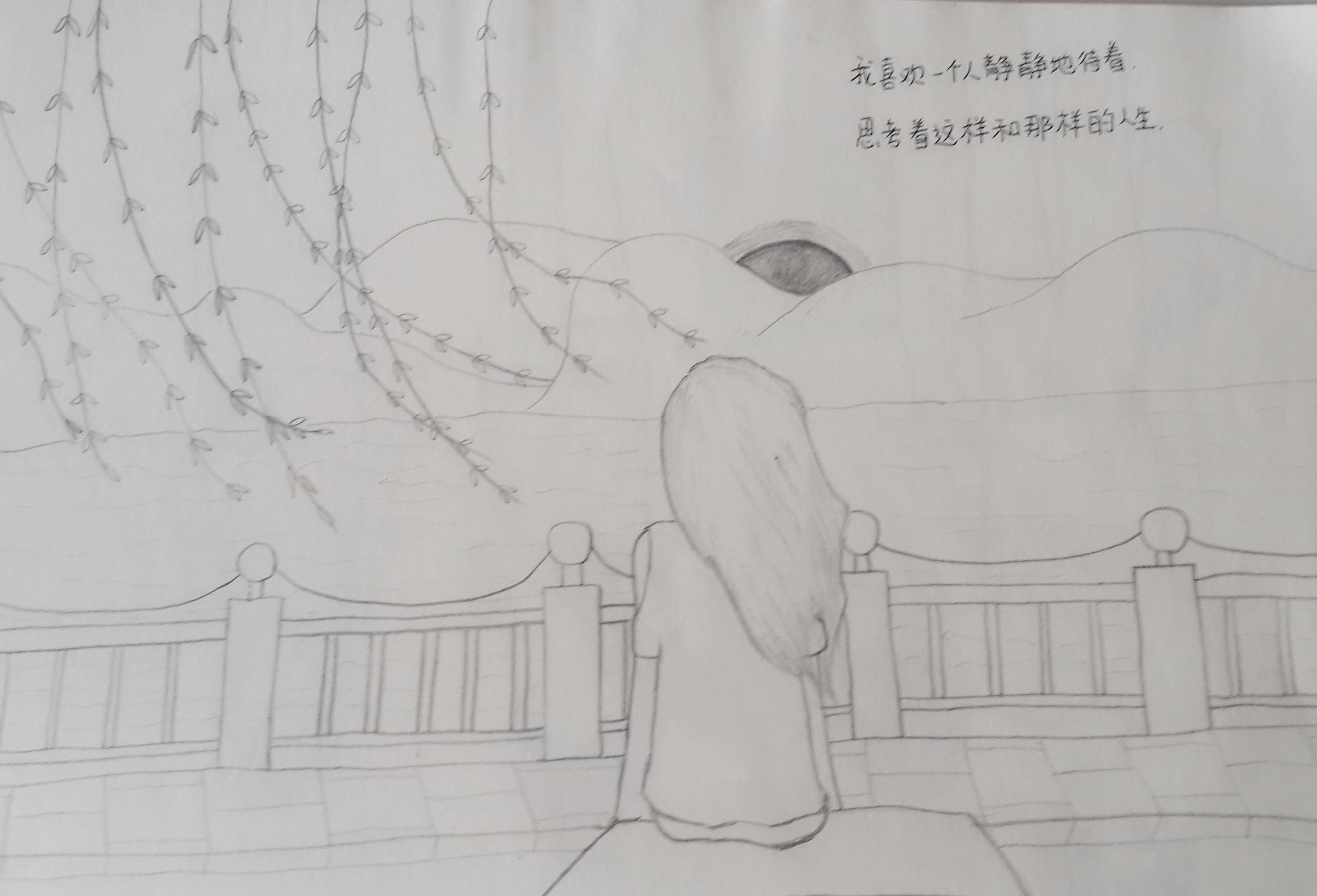 原创文艺小女孩背影ai插画创作