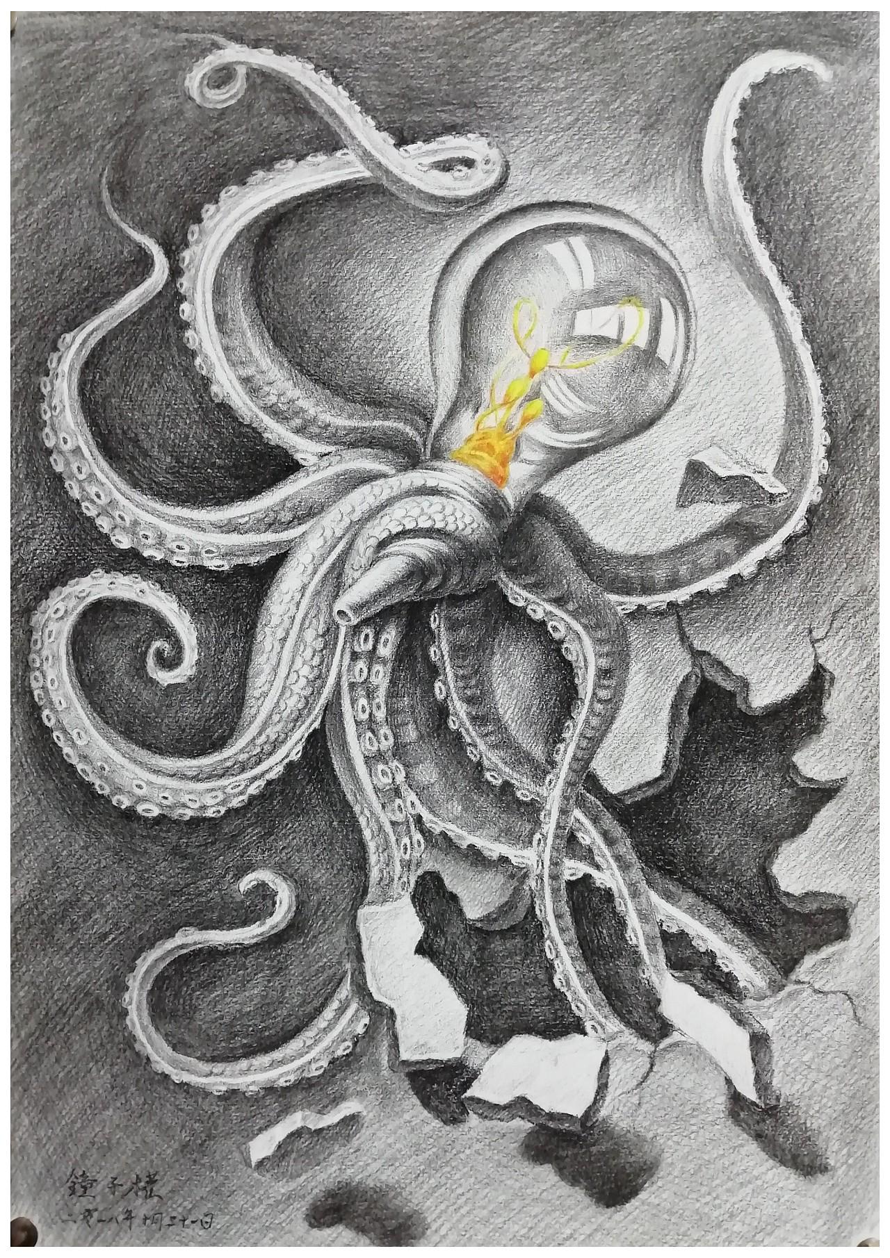 《创意素描——机械章鱼》图片