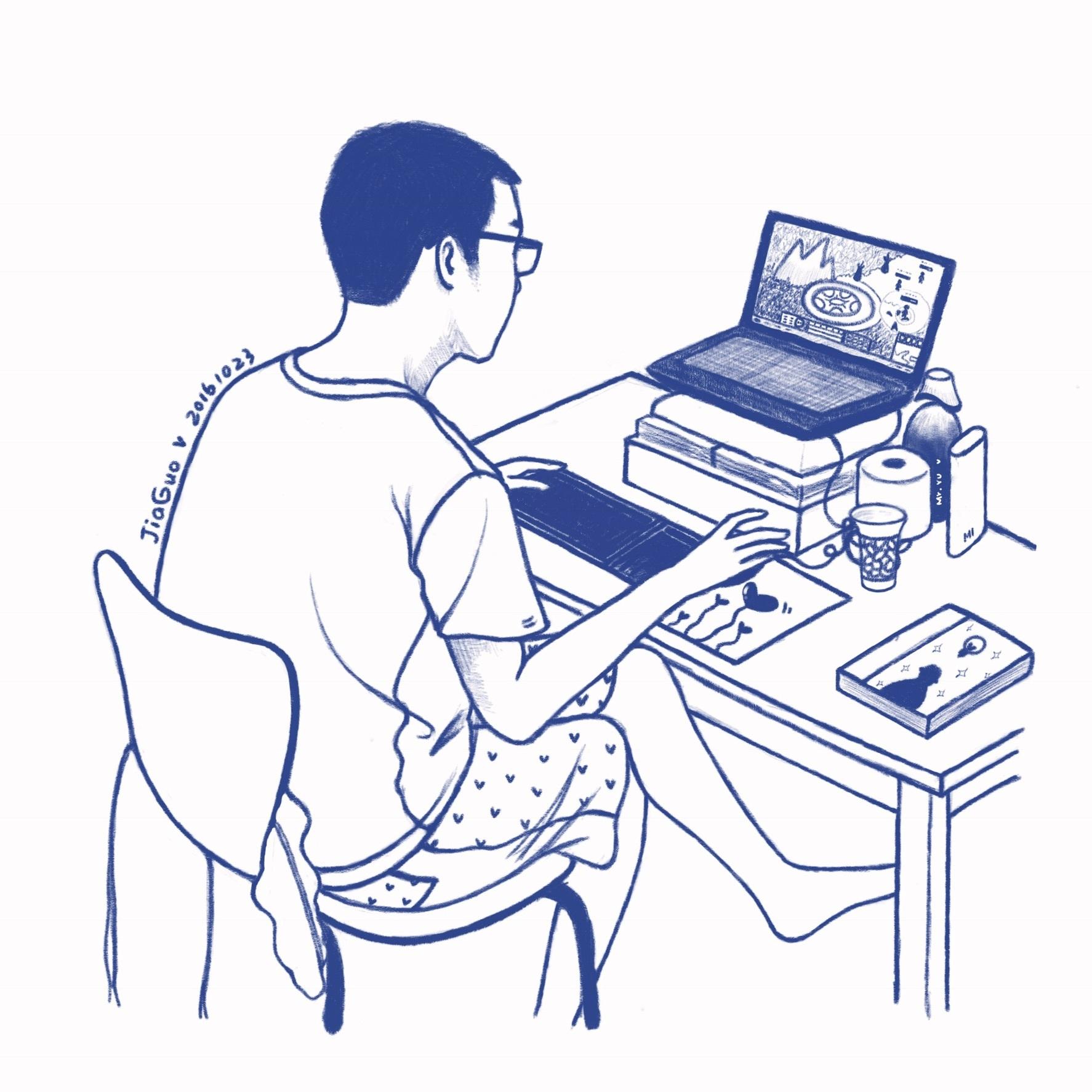 周末在家看男友打游戏|插画|插画习作|jiaguo - 原创