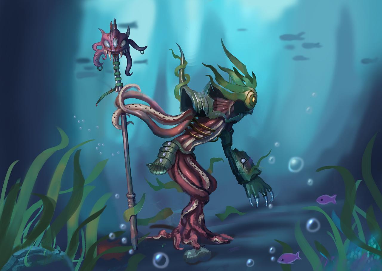 在脑子出现了这么一个怪物,它是海族某个族群的长老,哈哈.