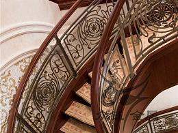 欧式护栏铝板雕刻旋转楼梯护栏大气组装式铝板雕刻护栏