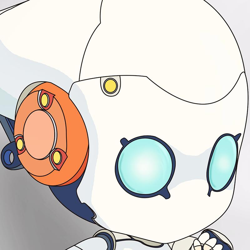 彩色儿童简笔画机器人