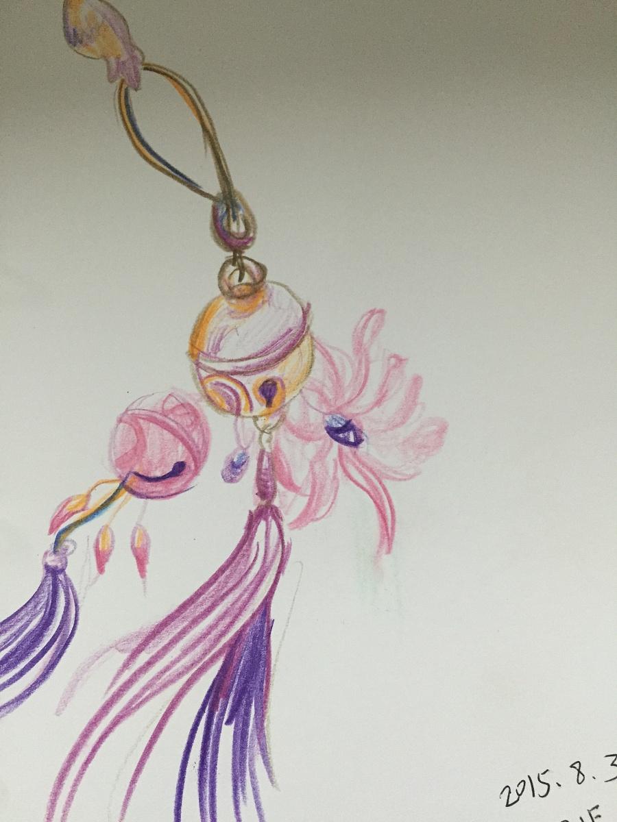 手绘彩铅传统首饰