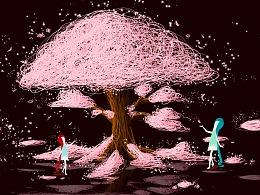 手绘线圈樱花树下