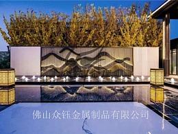 售楼外户外发光型不锈钢山水景墙 特色专属定制