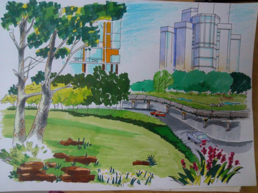 马克笔景观手绘练习|园林景观/规划|空间/建筑|sasak