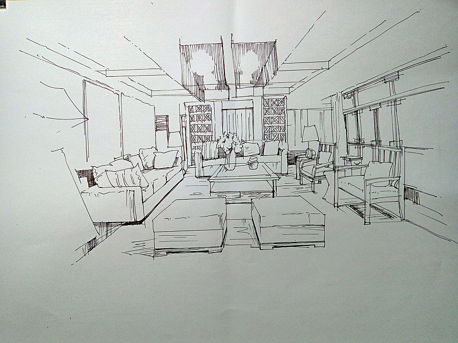 马克笔作业|室内设计|空间/建筑|懒猫设计 - 原创设计