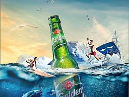 海上酒瓶练习自己加重了调色 修改了一些元素 看看效果