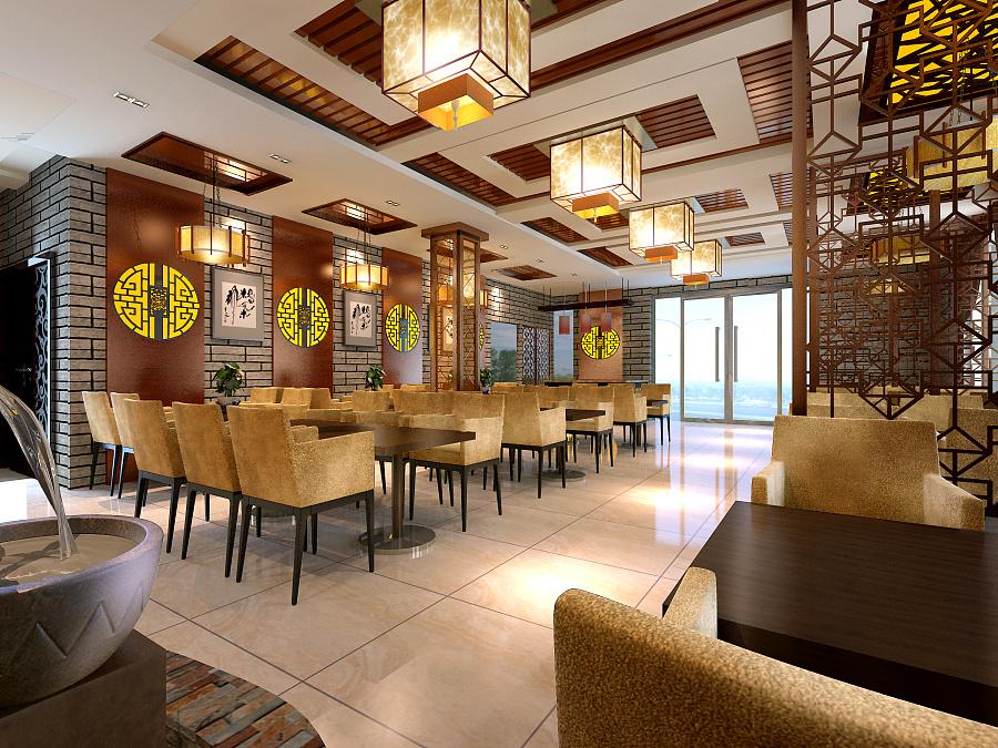 成都中式风格火锅店大厅设计效果图图片