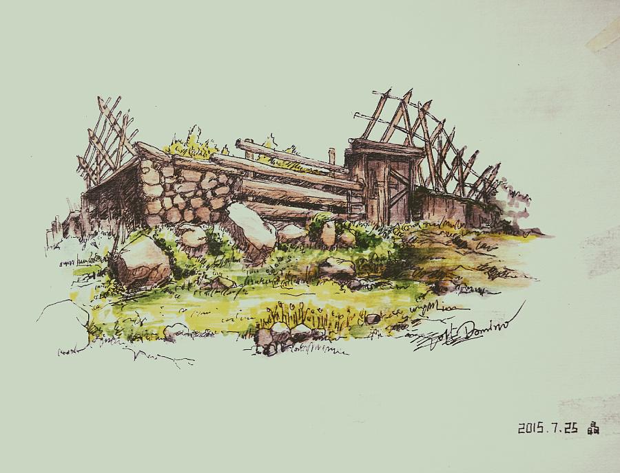 马克笔建筑园艺手绘