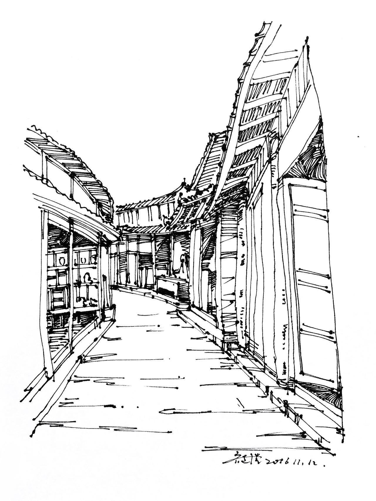 丽江之行速写写生图片