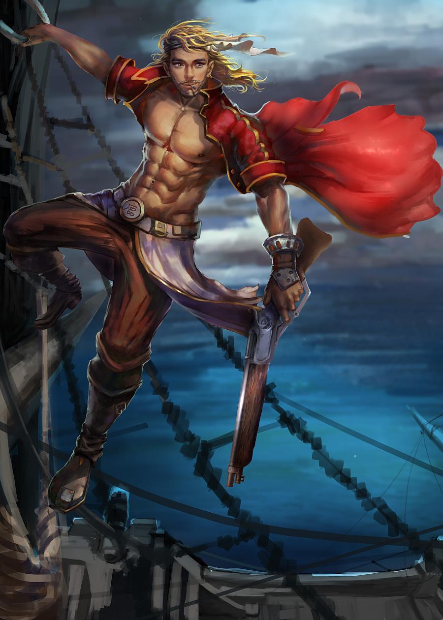 海盗人物原画设定-快涂 游戏原画 插画 手绘