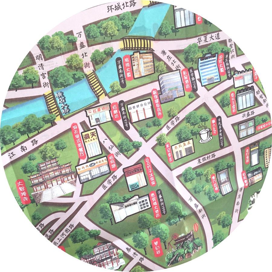 手绘横店地图|商业插画|插画|简爱手绘 - 原创设计