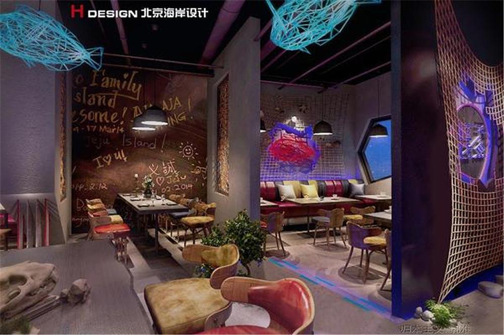 北京海南匠子烤鱼餐饮店设计风格海口海岸设计商业案例海报设计图片