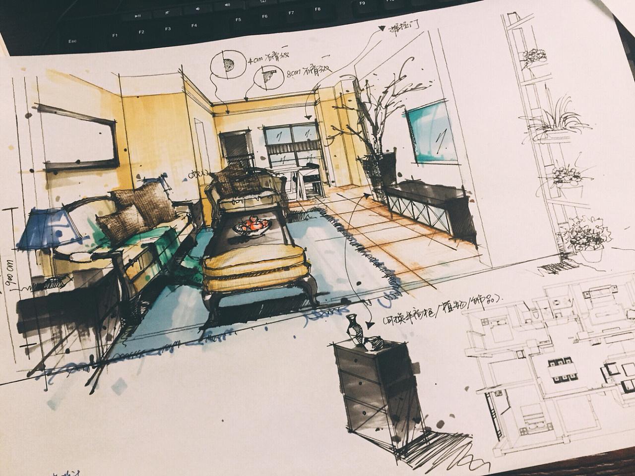 平层小美式客厅手绘小稿