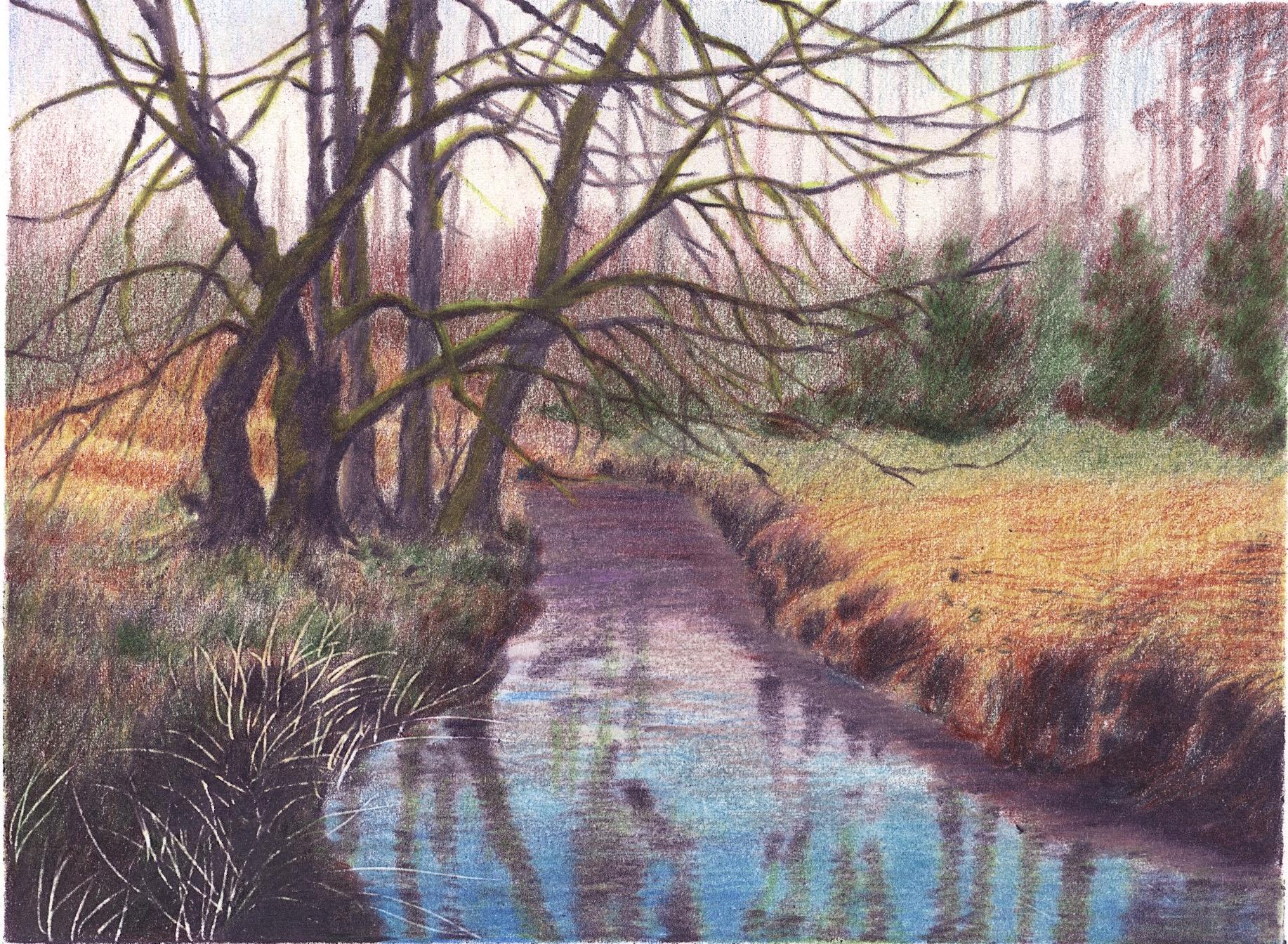 彩铅河边风景|纯艺术|彩铅|gogobnj - 原创作品图片