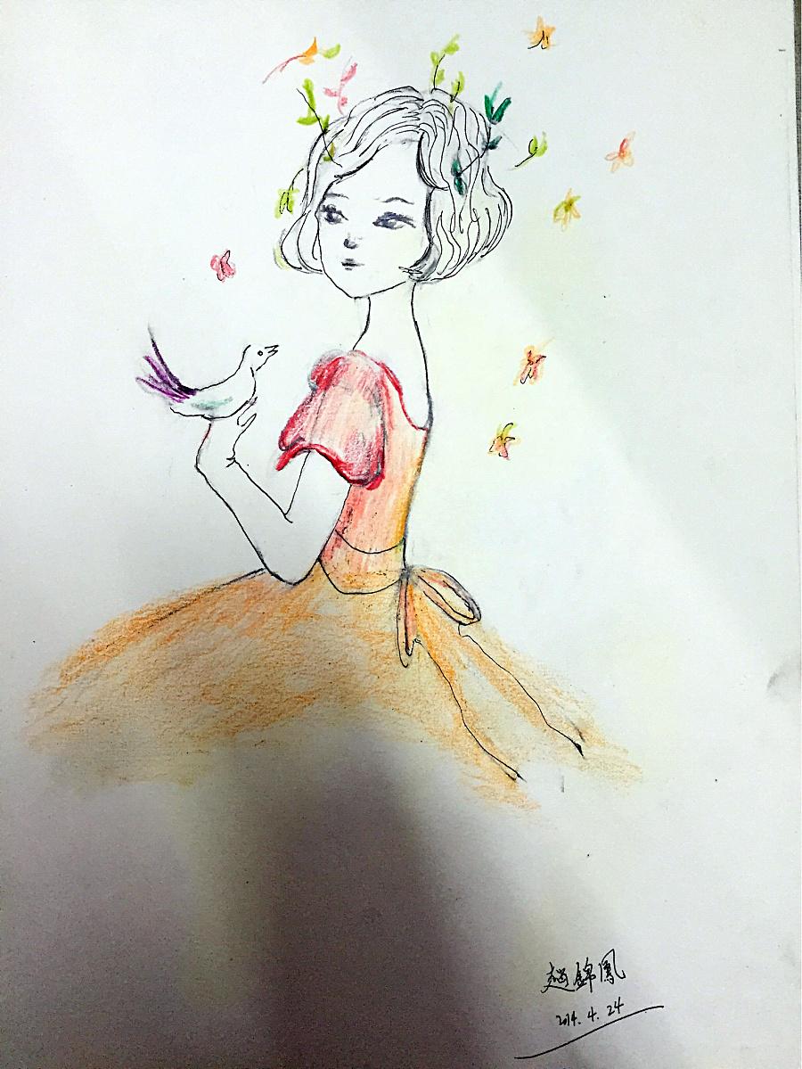 手绘彩铅短发女孩儿