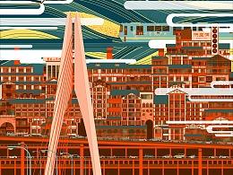 城市系列建筑插画-重庆