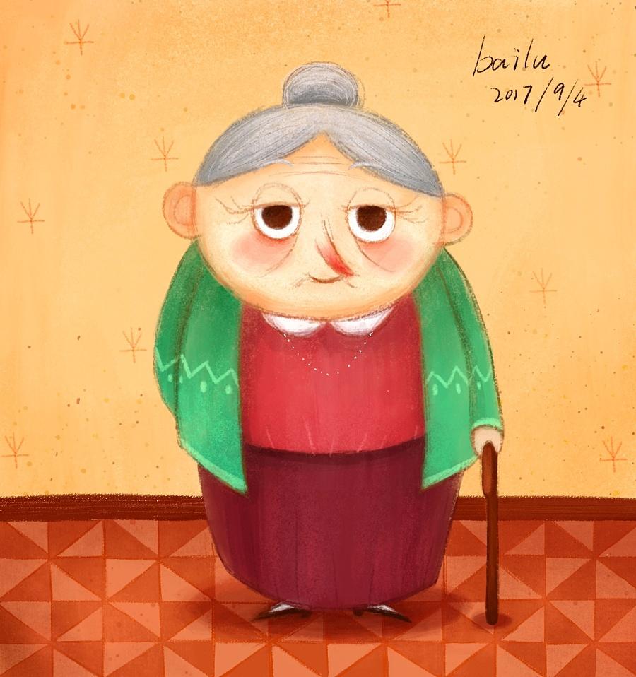 一位慈祥的老奶奶 儿童插画 插画 画插画的小啵
