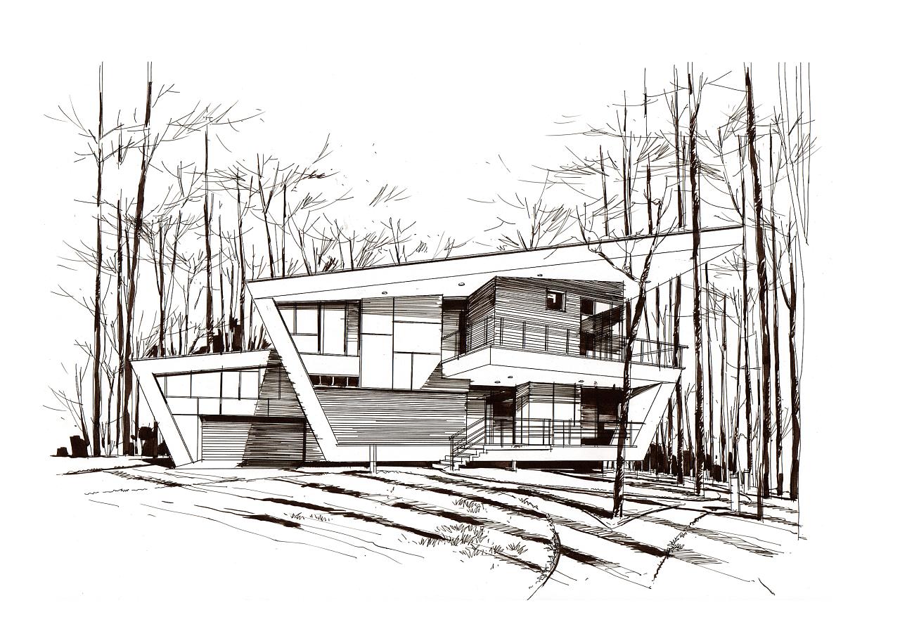 建筑手绘马克笔表现