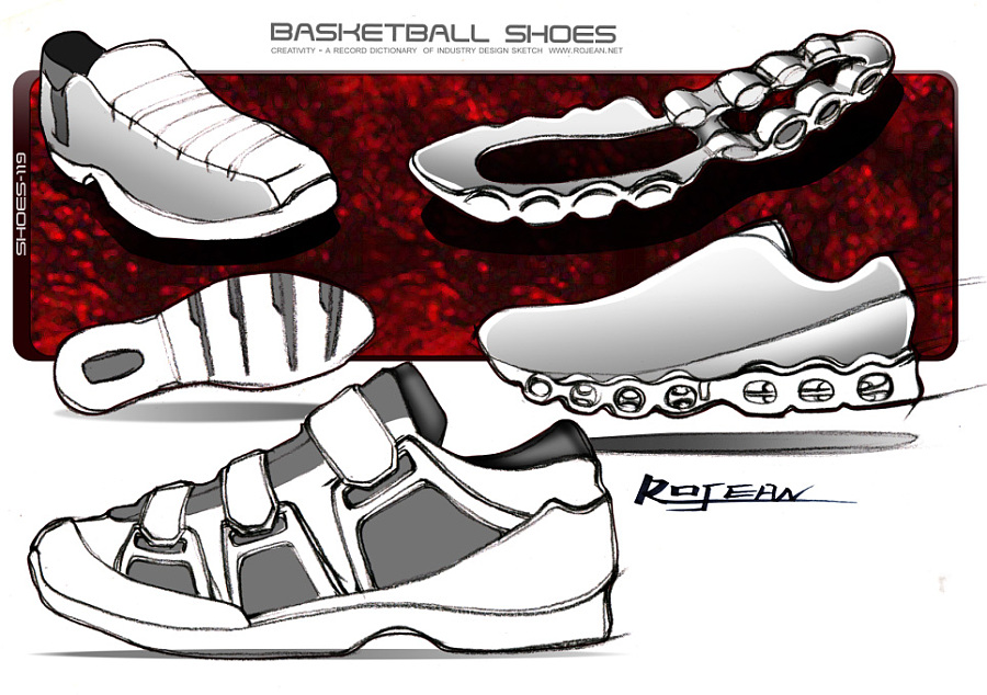 一组运动鞋设计手绘