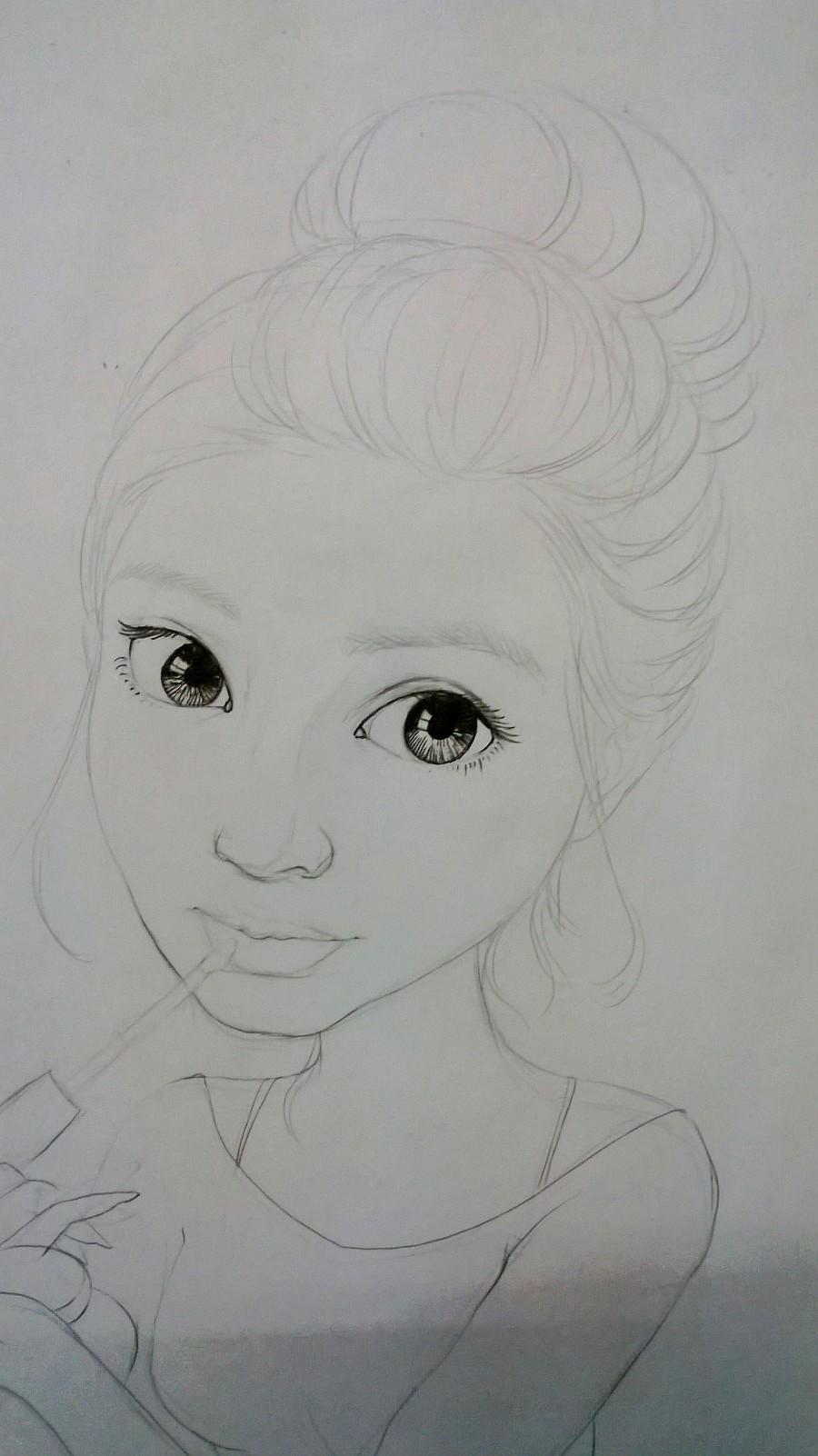 彩铅素描半卡通——大眼睛姑娘|彩铅|纯艺术|航妹