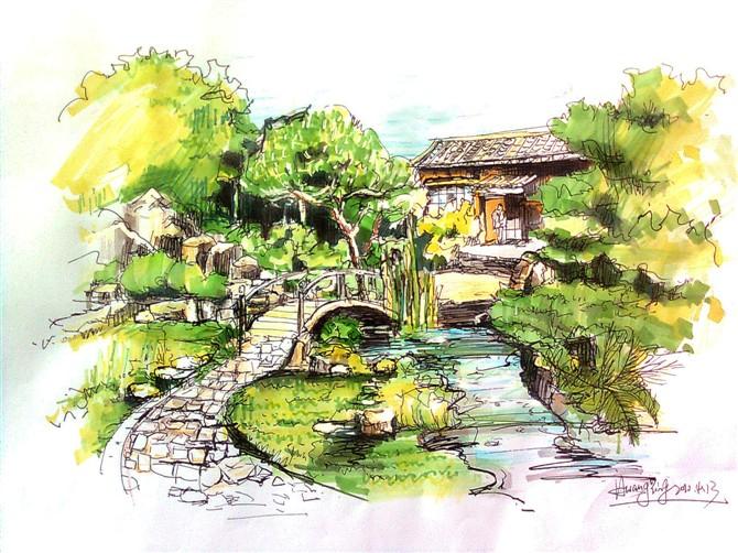 景观小桥节点手绘