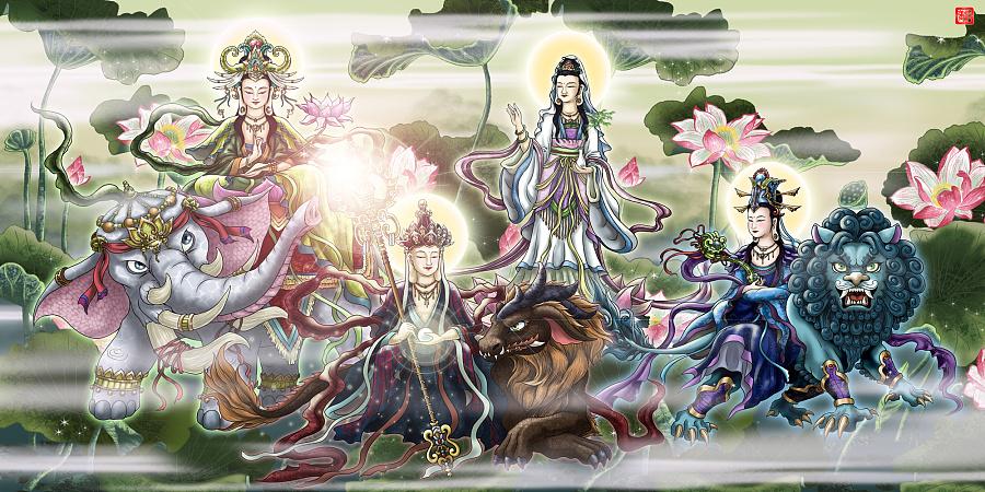 四大菩萨横版:普贤菩萨,地藏王菩萨,观世音菩萨,文殊菩萨(左至右)